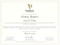 Certyfikat: Brainbench - Database Administrator Oracle 8, 2000