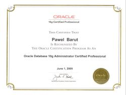 Certyfikat: Oracle Certified Professional - Database Administrator Oracle 10g, 2005