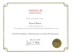 Certyfikat: Oracle Certified Professional - Database Administrator Oracle 9i, 2004